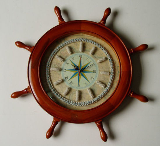 Picture of Nautical Decor Captain's Wheel Knot Clock - In Stock and Ready to Ship