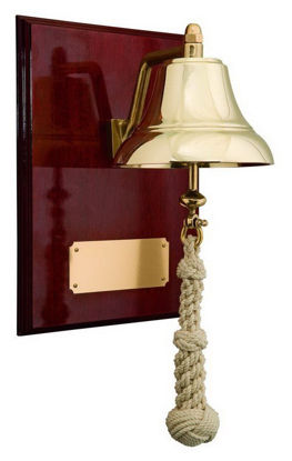 "Picture of 6"" Brass Bell Mounted on 9"" x 12"" High Gloss Mahogany Plaque"